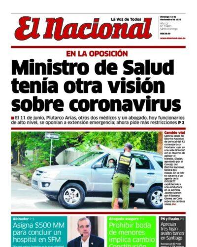 Portada Periódico El Nacional, Domingo 15 de Noviembre, 2020