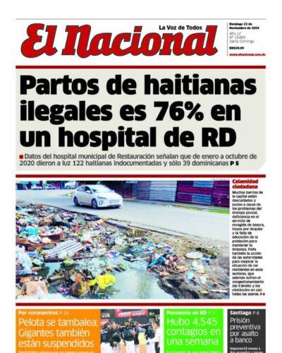 Portada Periódico El Nacional, Domingo 22 de Noviembre, 2020