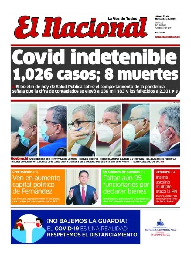 Portada Periódico El Nacional, Jueves 19 de Noviembre, 2020