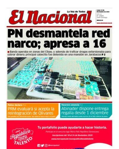 Portada Periódico El Nacional, Lunes 16 de Noviembre, 2020