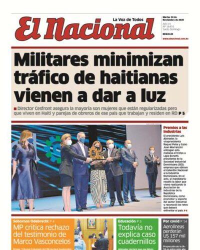 Portada Periódico El Nacional, Martes 24 de Noviembre, 2020