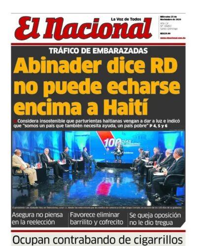 Portada Periódico El Nacional, Miércoles 25 de Noviembre, 2020