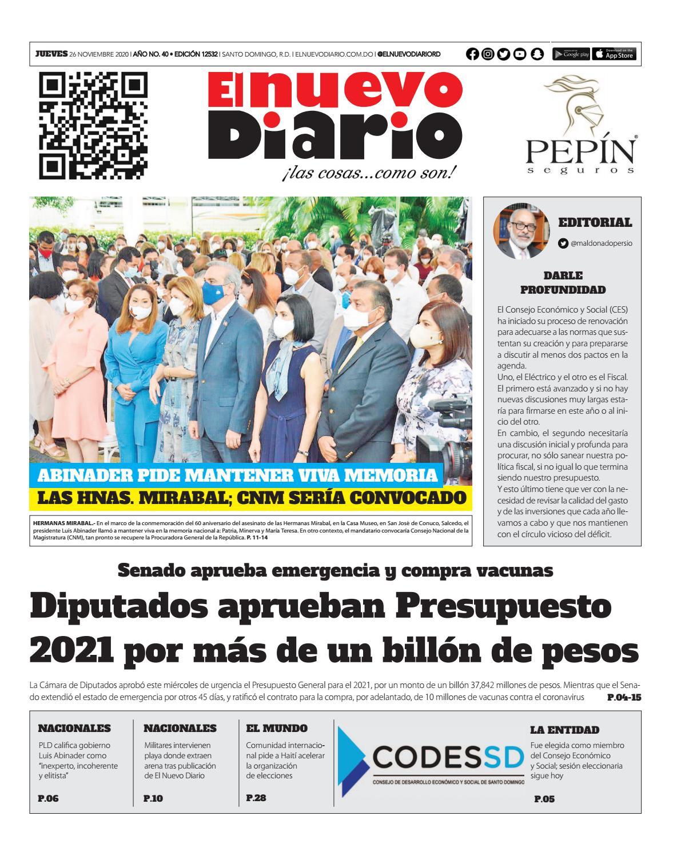 Portada Periódico El Nuevo Diario, Jueves 26 de Noviembre, 2020