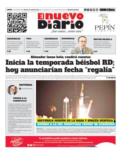 Portada Periódico El Nuevo Diario, Lunes 16 de Noviembre, 2020