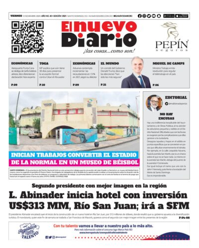 Portada Periódico El Nuevo Diario, Viernes 13 de Noviembre, 2020