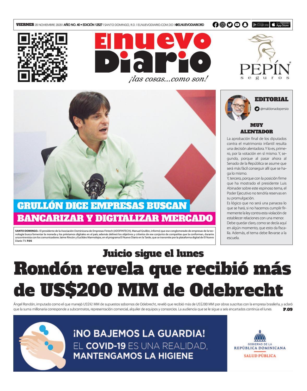 Portada Periódico El Nuevo Diario, Viernes 20 de Noviembre, 2020