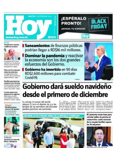 Portada Periódico Hoy, Martes 17 de Noviembre, 2020