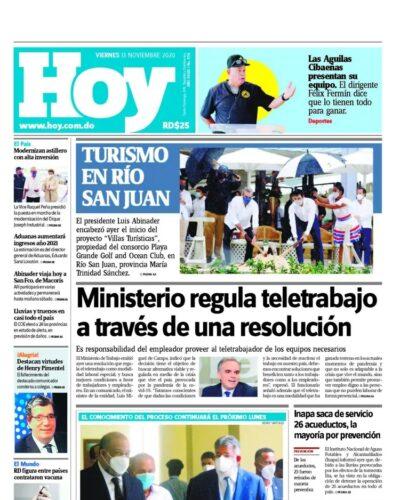 Portada Periódico Hoy, Viernes 13 de Noviembre, 2020