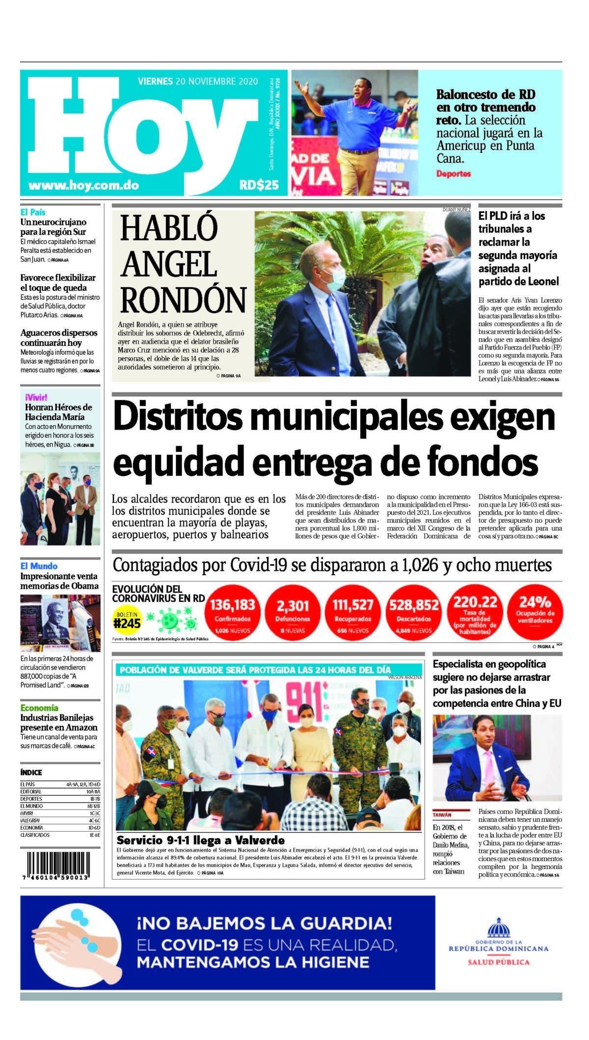 Portada Periódico Hoy, Viernes 20 de Noviembre, 2020