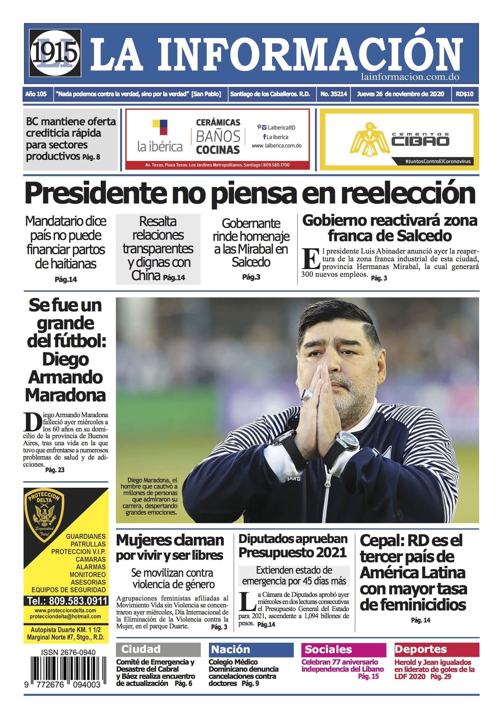 Portada Periódico La Información, Jueves 26 de Noviembre, 2020