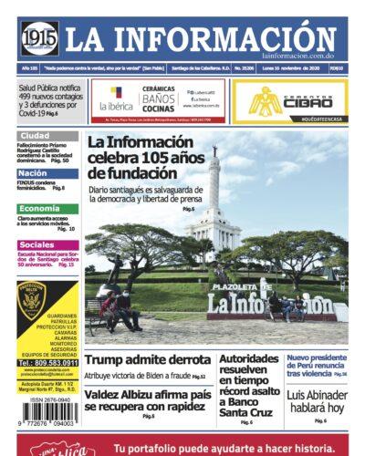 Portada Periódico La Información, Lunes 16 de Noviembre, 2020