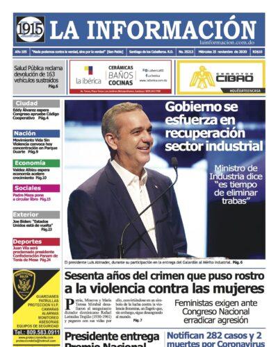 Portada Periódico La Información, Miércoles 25 de Noviembre, 2020