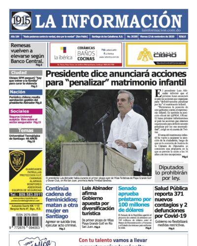 Portada Periódico La Información, Viernes 13 de Noviembre, 2020