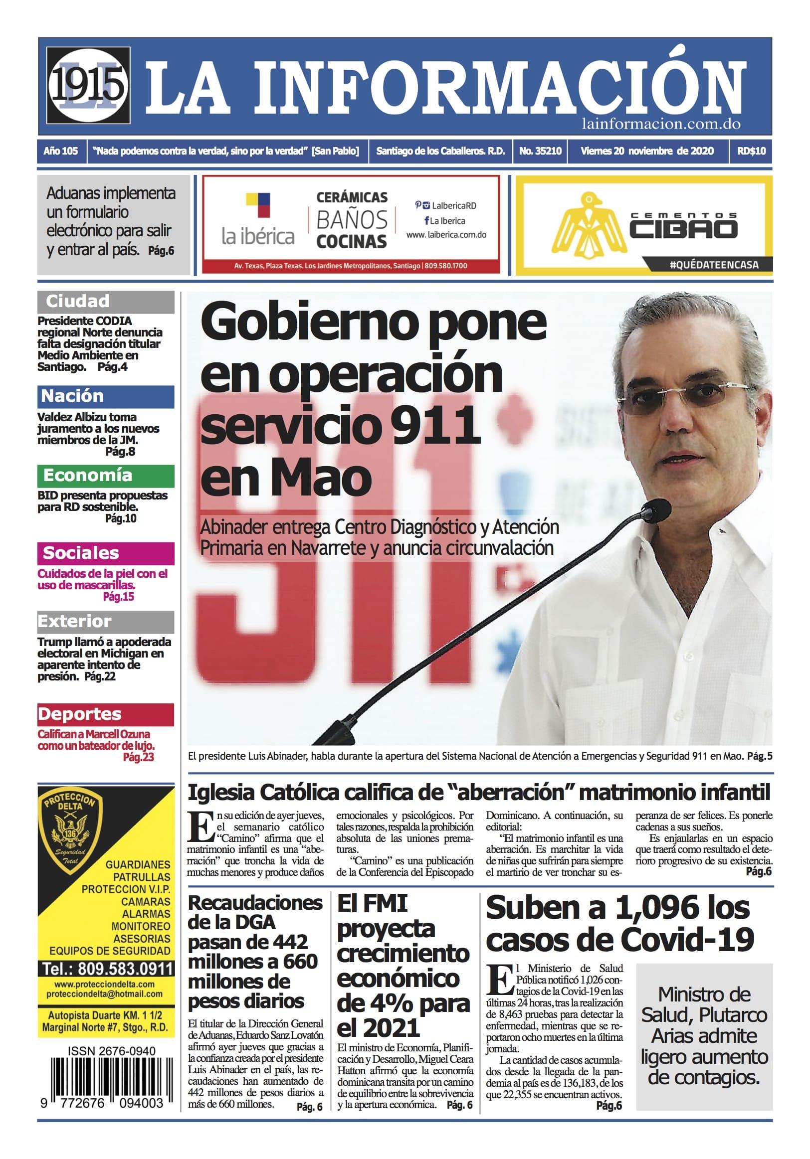 Portada Periódico La Información, Viernes 20 de Noviembre, 2020