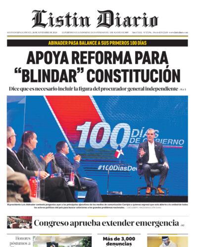 Portada Periódico Listín Diario, Jueves 26 de Noviembre, 2020