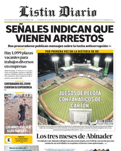 Portada Periódico Listín Diario, Lunes 16 de Noviembre, 2020