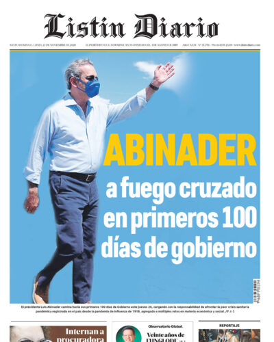 Portada Periódico Listín Diario, Lunes 23 de Noviembre, 2020