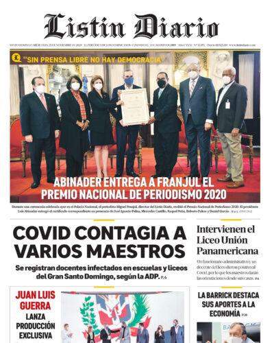 Portada Periódico Listín Diario, Miércoles 25 de Noviembre, 2020