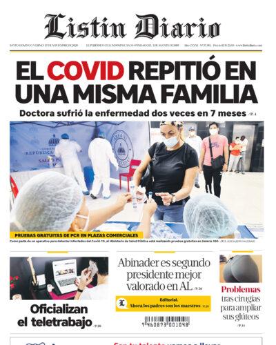 Portada Periódico Listín Diario, Viernes 13 de Noviembre, 2020