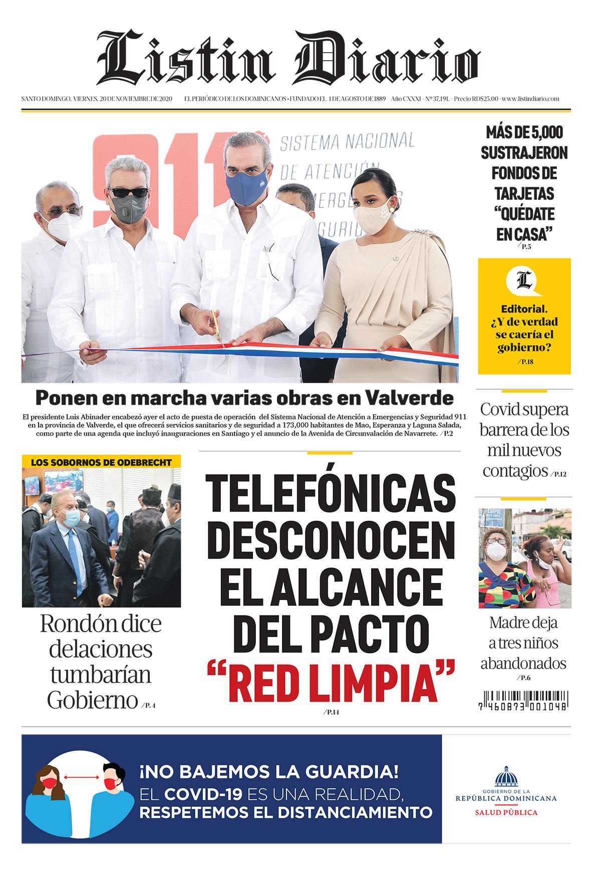 Portada Periódico Listín Diario, Viernes 20 de Noviembre, 2020