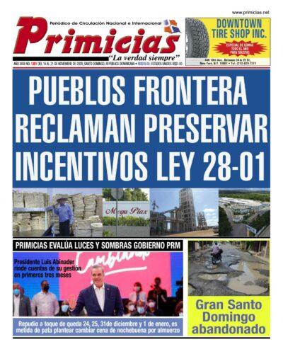 Portada Periódico Primicias, Lunes 16 de Noviembre, 2020