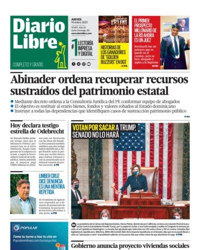 Portada Periódico Diario Libre, Jueves 14 de Enero, 2021