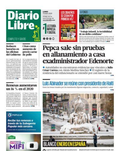 Portada Periódico Diario Libre, Lunes 11 de Enero, 2021