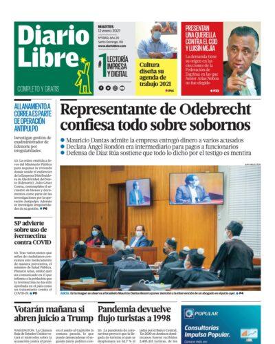 Portada Periódico Diario Libre, Martes 12 de Enero, 2021