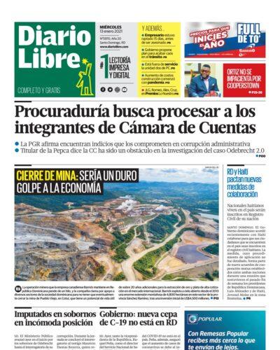 Portada Periódico Diario Libre, Miércoles 13 de Enero, 2021
