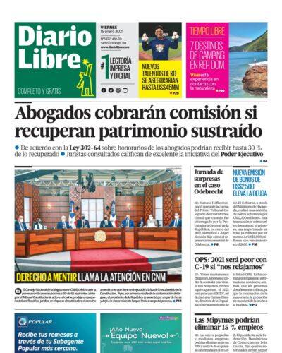 Portada Periódico Diario Libre, Viernes 15 de Enero, 2021