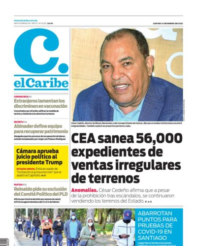 Portada Periódico El Caribe, Jueves 14 de Enero, 2021