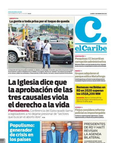 Portada Periódico El Caribe, Lunes 11 de Enero, 2021