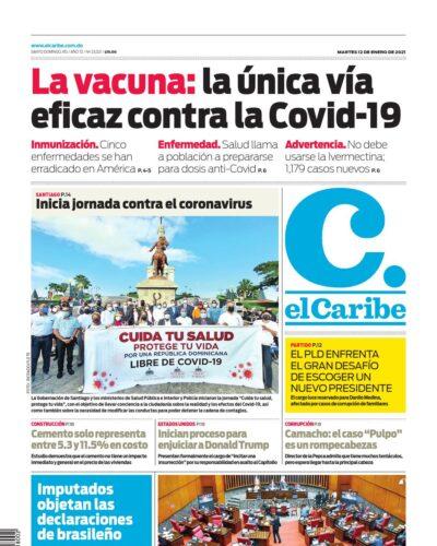 Portada Periódico El Caribe, Martes 12 de Enero, 2021