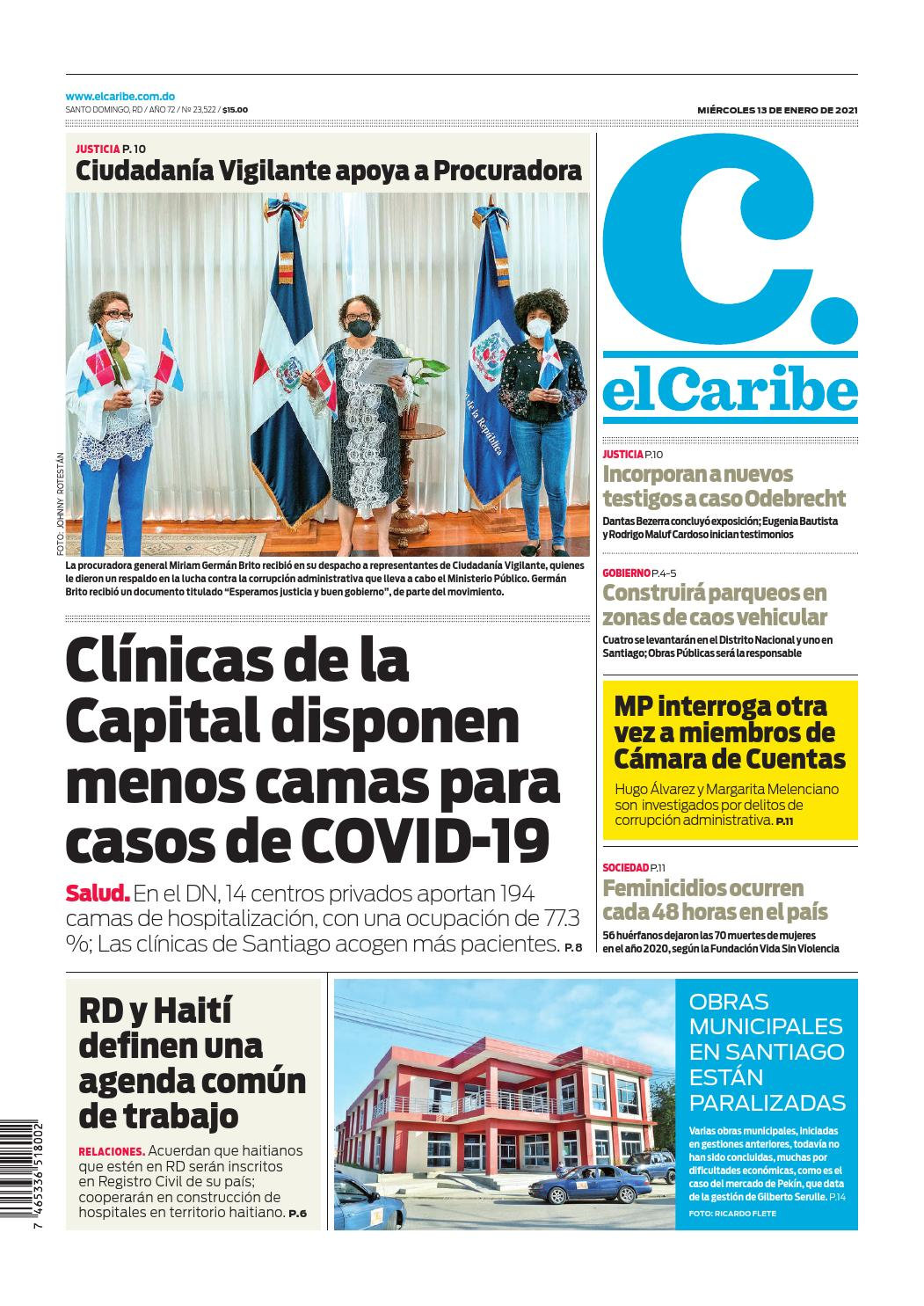 Portada Periódico El Caribe, Miércoles 13 de Enero, 2021