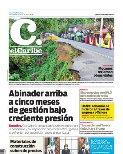 Portada Periódico El Caribe, Viernes 15 de Enero, 2021