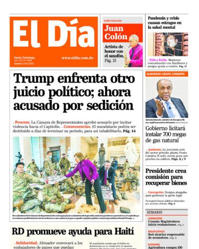 Portada Periódico El Día, Jueves 14 de Enero, 2021