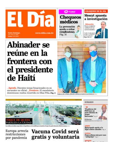 Portada Periódico El Día, Lunes 11 de Enero, 2021