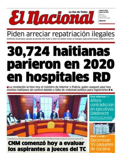 Portada Periódico El Nacional, Jueves 14 de Enero, 2021