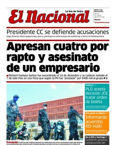 Portada Periódico El Nacional, Martes 12 de Enero, 2021