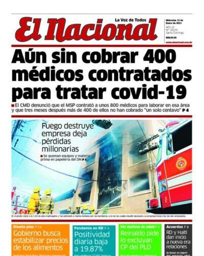 Portada Periódico El Nacional, Miércoles 13 de Enero, 2021