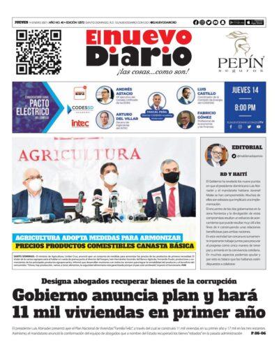 Portada Periódico El Nuevo Diario, Jueves 14 de Enero, 2021