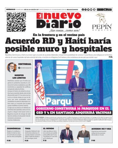 Portada Periódico El Nuevo Diario, Miércoles 13 de Enero, 2021