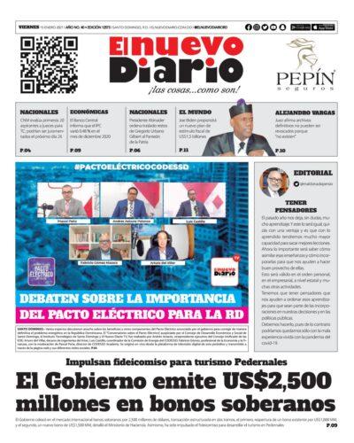 Portada Periódico El Nuevo Diario, Viernes 15 de Enero, 2021