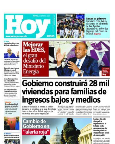Portada Periódico Hoy, Jueves 14 de Enero, 2021