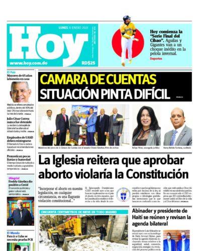 Portada Periódico Hoy, Lunes 11 de Enero, 2021