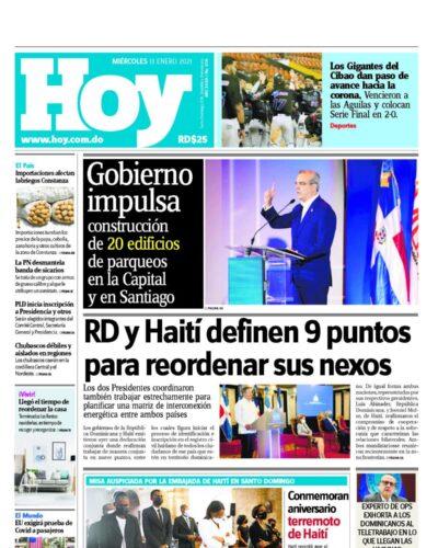 Portada Periódico Hoy, Miércoles 13 de Enero, 2021