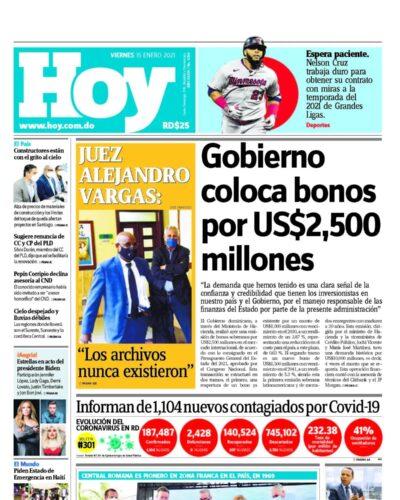 Portada Periódico Hoy, Viernes 15 de Enero, 2021