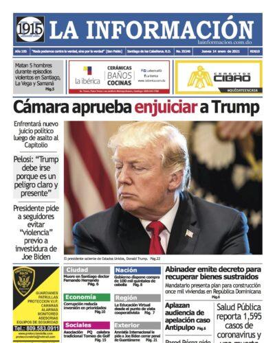 Portada Periódico La Información, Jueves 14 de Enero, 2021