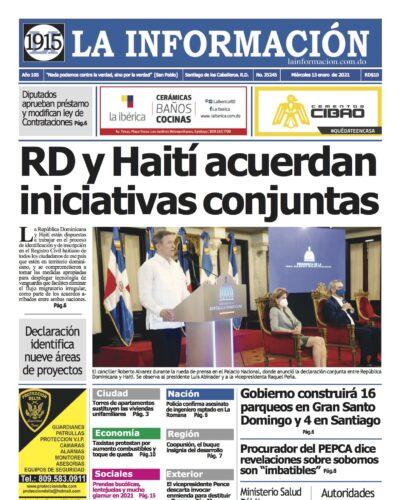 Portada Periódico La Información, Miércoles 13 de Enero, 2021