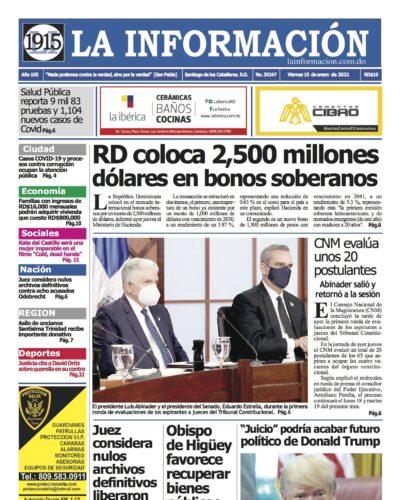 Portada Periódico La Información, Viernes 15 de Enero, 2021